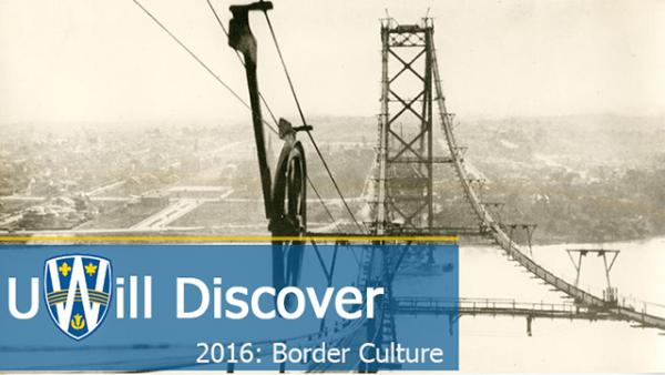 UWill Discover logo over picture of the Ambassador Bridge being built