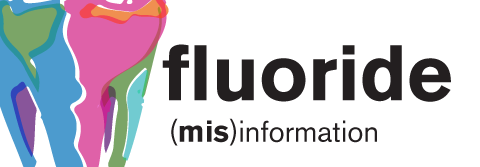 "stylized drawing of a tooth, with the text: ""fluoride: (mis)information"""