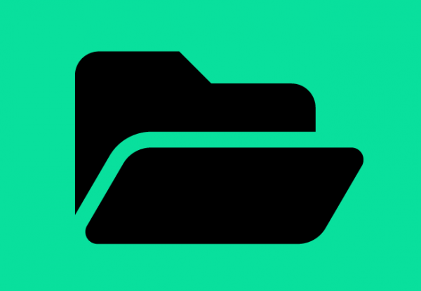 A graphic of a black folder icon against a green background