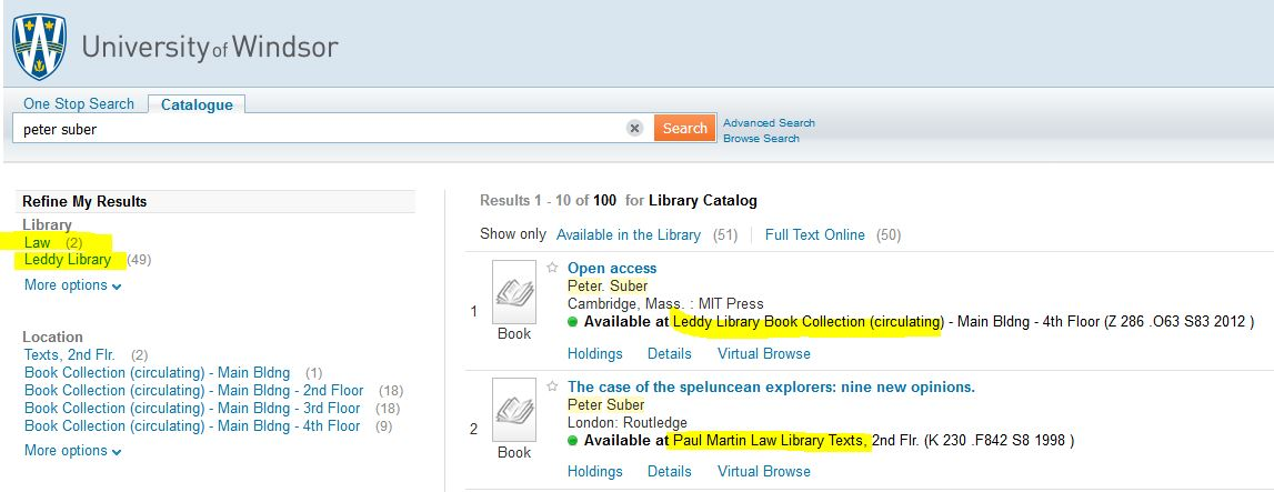 screen capture of library catalogue showing books from law and leddy