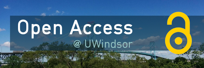 Open Access University of Windsor with Windsor logo and Ambassador Bridge in the background