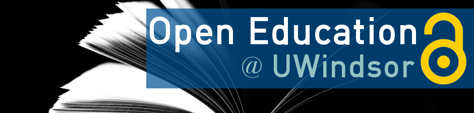 Open education University of Windsor with book in background and open access lock