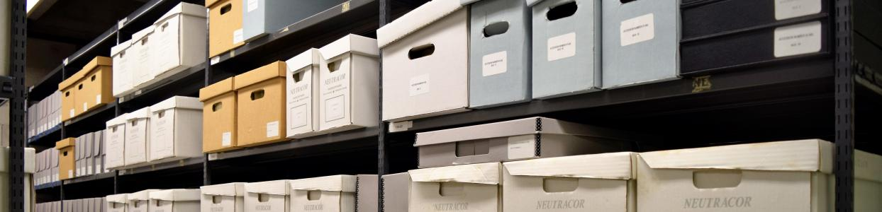 Tall shelves containing various styles of grey, beige, blue, and white archival storage boxes
