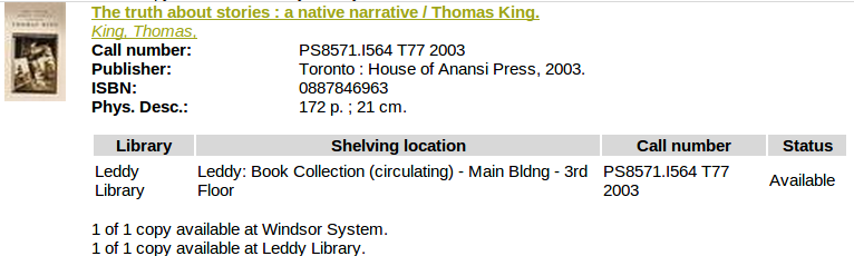 screenshot of the library catalogue - truth about stories