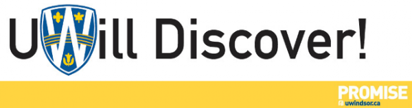 UWill Discover Logo with UWindsor Promise campaign icon